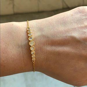Kate spade crystal and gold adjustable bracelet